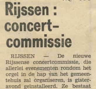 Uit de begintijd van de concertcommissie